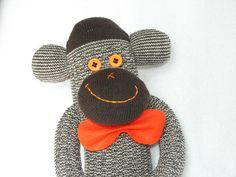 Sock Monkey Doll Plush Toy in Brown and by AsYouWishCreations4u, $25.00