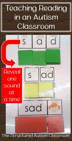 Reading instruction in an autism and special education classroom. Decoding word families in a TEAACH work task format.