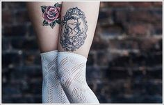 The Cute Thigh Tattoos Ideas And Meaning For Girl, thigh tattoo designs, cute thigh tattoos ~ Tattoo Eve Inner Thigh Tattoos, Cute Thigh Tattoos, Thigh Tattoo Designs, Tattoo Designs For Girls, Tattoos For Women Small, Tattoos For Guys, Cool Tattoos, White Flower Tattoos, Flower Tattoo Back