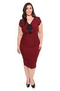 Stop Staring - Red Black Polka Dot Wiggle Dress