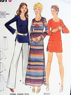 1970s FAB Beach CoverUp Maxi Dress or Tunic Top and Pants Pattern BUTTERICK 6614 Bust 34 Vintage Seventies Sewing Pattern UNCUT