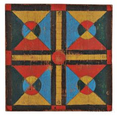 Polychrome Decorated Oak Parcheesi Game Board | Sale Number 2922M, Lot Number 778 | Skinner Auctioneers Card Patterns, Quilt Patterns, Paint Games, Vintage Board Games, Antique Paint, Old Games, Pattern And Decoration, Naive Art, Barn Quilts