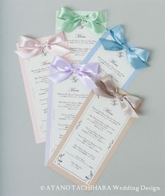 メニュー Menu card by AYANO TACHIHARA Wedding Design
