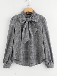SheIn offers Bow Tie Neck Plaid Blouse & more to fit your fashionable needs. SheIn offers Bow Tie Neck Plaid Blouse & more to fit your fashionable needs. Bluse Outfit, Hijab Outfit, Hijab Casual, Ootd Hijab, Look Fashion, Fashion News, Fashion Design, Fashion Styles, Mens Fashion
