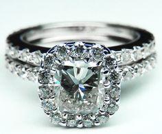 Radiant Diamond Vintage Crown Engagement Ring & Matching Wedding Band