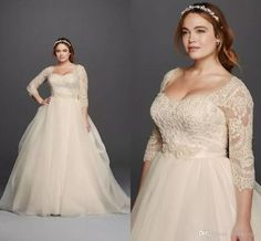 Plus Size 2016 Oleg Cassini Wedding Dresses 3/4 Sleeves Lace Sweetheart Covered Button Gloor Length Princess Fashion Bridal Gowns Affordable Bridal Gowns All Wedding Dresses From Wheretoget, $132.67| Dhgate.Com