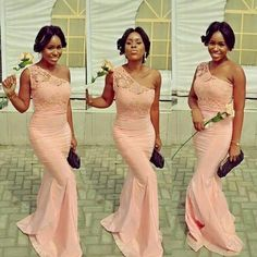 2016 Lace Mermaid Bridesmaid Dresses Peach Coral Vestido One Shoulder South Africa Hot Sexy Bridesmaids Gowns Long Floor Length Party Dress