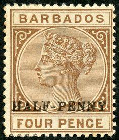 "Barbados 1892 Scott 69 ½d on 4d brown ""Victoria"""