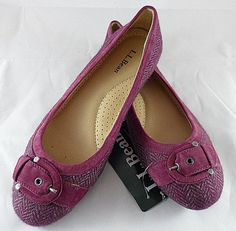 LL Bean Womens Skimmer Buckle Ballet Flats Shoes Wool/Tweed Raspberry Size 7 New #LLBean #BalletFlats
