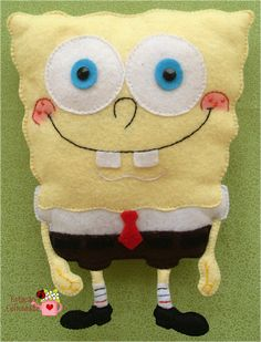 Felt Spongebob my niece would love this Felt Fish, Dinosaur Toys, Felt Patterns, Sewing Toys, Toddler Gifts, Felt Toys, Felt Ornaments, Felt Art, Felt Animals
