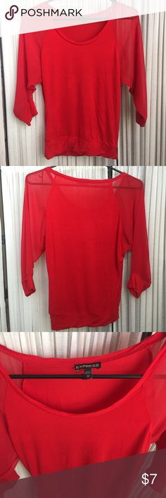 Express Red Blouse This blouse is 100% rayon and the sheer 3/4 length sleeves are 100% polyester. Only worn a few times and in great condition! Express Tops Blouses