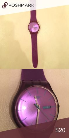 Purple swatch watch Purple with blue details on the face. In great condition aside from a few minor scratches on the face. Very cute and perfect for spring & summer Swatch Accessories Watches