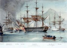 The Battle of Navarino; Scipion is shown in the centre, entangled with a fireship Greek History, Naval History, Old Sailing Ships, Wooden Ship, Nautical Art, Model Ships, Tall Ships, Royal Navy, Battle