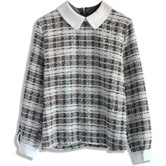 Chicwish Cheerful Ribbon Trimmed Tweed Top ($36) ❤ liked on Polyvore featuring tops, sweaters, shirts, long sleeves, multi, long sleeve tops, zip back shirt, peter pan collar top, long-sleeve shirt and peter pan collar shirts