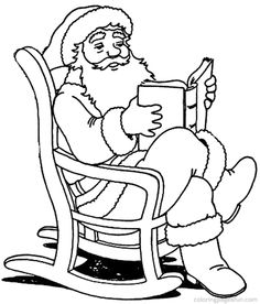 Santa Claus Reading Book In Christmas Coloring Pages