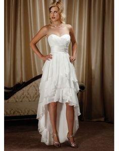 Chiffon Sweetheart Tiers Ruffle High Low Wedding Dress