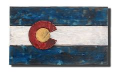 3D Colorado flag, Distressed Wood, Wooden, vintage, art, Denver Flag, weathered, recycled, Colorado flag art, red blue, home decor, wall art...