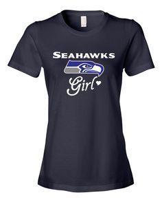 "Custom Made Glitter ""Seahawks Girl"" Seattle Seahawks Ladies Shirt! Great gift!"