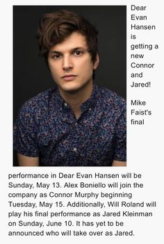 Aaaahhhhh! THIS IS NOT OKAY!!! *high pitched pterodactyl sounds and sobbing uncontrollably* But still the fandom welcomes Alex Boniello.