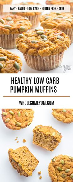 Keto Low Carb Pumpkin Muffins Recipe with Coconut Flour & Almond Flour – This low carb pumpkin muffins recipe with coconut flour and almond flour is super moist and EASY! You can also make these keto pumpkin muffins paleo or nut-free if you'd like. Paleo Pumpkin Muffins, Pumpkin Muffin Recipes, Healthy Muffins, Pumpkin Recipes Low Carb, 2 Ingredient Pumpkin Muffins, Low Carb Dinner Recipes, Low Carb Desserts, Keto Recipes, Dessert Recipes