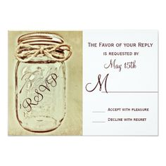 Mason Jar Rustic Country Wedding RSVP Reply Cards #rustic #country #wedding http://www.zazzle.com/mason_jar_rustic_country_wedding_rsvp_reply_cards-161715878147092472?rf=238133515809110851&tc=PinterestMsPlnr