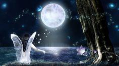 Samotny Fairy w świetle księżyca, wróżka KSIĘŻYCOWA wektor