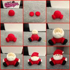 Fondant Santa Cake Topper Quick Tutorial The Effective Pictures We Offer You About chaveiros de biscuits A quality picture can tell you many things. Christmas Themed Cake, Clay Christmas Decorations, Christmas Cake Designs, Christmas Cake Topper, Polymer Clay Christmas, Christmas Cupcakes, Polymer Clay Crafts, Christmas Crafts, Christmas Tree