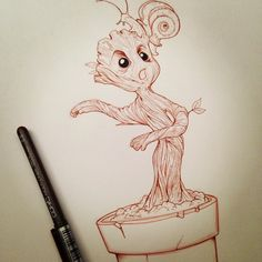 It would appear that I too have been sucked into drawing adorable baby Groot. #myart #marvel #guardiansofthegalaxy #groot #babygroot #iamgroot #copic