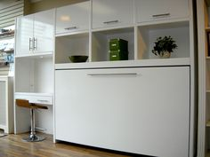 horizontal white murphy bed with desk and storage for home furniture idea