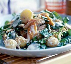 Family meal: Warm new potato & smoked mackerel salad recipe - Recipes - BBC Good Food Bbc Good Food Recipes, Vegetarian Recipes, Cooking Recipes, Healthy Recipes, Warm Salad Recipes, Bbc Recipes, Cooking Rice, Cooking Bacon, Cooking Ideas