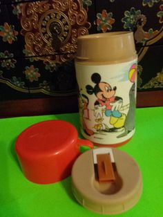 Vintage Disney Thermos with Mickey Mouse and Pluto, Seal & Elephant - Complete