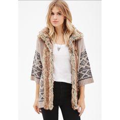 Fur Collar Tribal Sweater Size Small Fur Collar Tribal Sweater Size Small. Brand new and SO cute!! Sweaters Shrugs & Ponchos