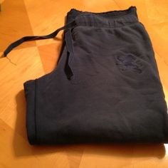 Active pants Sooo comfortable! Navy blue, drawstring, soft pants. They are actually a men's size medium. Worn once. Express Pants