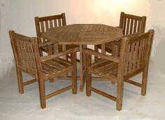 Teak Dining Set, Octagon Table 48