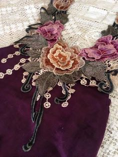 barboteuse 6m en lin magnifique floral collier dentelle