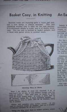 Craft a cure for cancer free tea cosy patterns: Vintage tea cosy patterns Knitted Dishcloth Patterns Free, Tea Cosy Knitting Pattern, Tea Cosy Pattern, Knit Dishcloth, Loom Knitting, Knitting Patterns, Knitted Tea Cosies, Tea Cozy, Vintage Tea