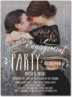 Simply Engaging - Signature White Photo Engagement Party Invitations - Picturebook