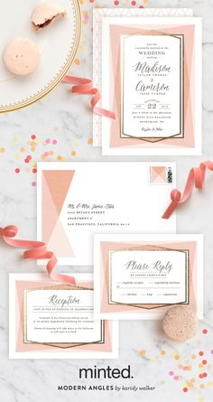 Go for the angle with Karidy Walker's Modern Angle Wedding Invitation in Blush + Foil Press. See the full suite of wedding stationery on Minted.com