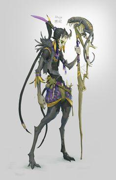 Akuja 悪蛇 - Tiefling Druid, Rich Carey on ArtStation at https://www.artstation.com/artwork/5ORXg