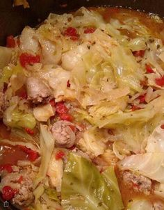 Pressure Cooker Cabbage and Sausage via @thisoldgalcooks