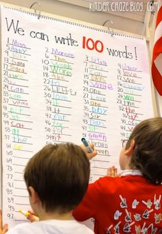 write 100 words on the 100th day of school from KinderCraze