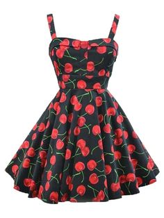 Cherry Printed Audrey Hepburn Sundress Vintage Style 50S Sleeveless Cotton Swing Party Harness Dress