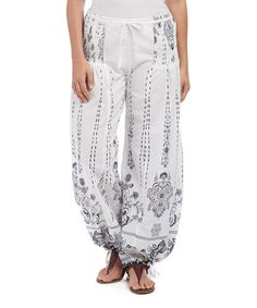Another great find on #zulily! White Geometric Harem Pants - Plus #zulilyfinds