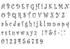 Printable Letter Stencils for Walls | Curlz complete alphabet letter and number stencil.