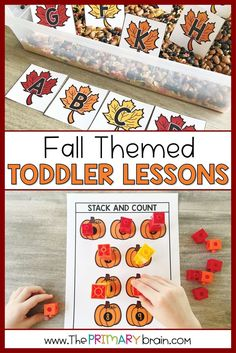Get ready to learn with your 2 to 3 year old child with this Fall Themed Toddler School Lesson unit! Everything you need for a full week of literacy, math, sensory bins, fine motor, gross motor, and art activities is included! Learn how to count, work on letter names and sounds, and more! Toddler School, Toddler Play, Tot School, Lesson Plans For Toddlers, Sensory Bins, School Lessons, Child Love, Literacy Activities, Autumn Theme