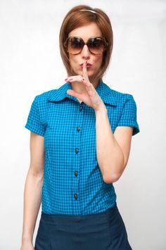 Camisa South Beach - Dresses2Kill Retro Clothing Made in Spain Navy Style