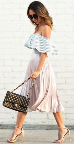Kim Le has + spring look + blush pink pleated skirt + off the shoulder striped pattern Pleated Midi Skirt: Topshop, Top: ASOS, Shoes: Steve Madden, Sunglasses: Nordstrom, Handbag: Chanel.(Off The Shoulder Top) Pleated Skirt Outfit, Pink Pleated Skirt, Skirt Outfits, Flowy Skirt, Peach Skirt, Blush Skirt, Midi Skirts, Spring Look, Spring Summer Fashion