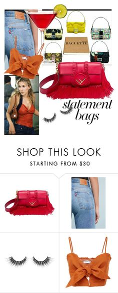 """fendi baguette statement bag"" by silvia-spina ❤ liked on Polyvore featuring Fendi, Levi's and statementbags"