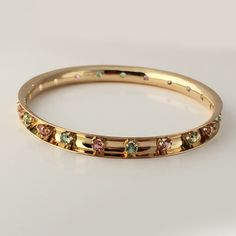 Pink and Green Tourmaline 14k Yellow Gold Bangle Bracelet – Harvest Gold Gallery