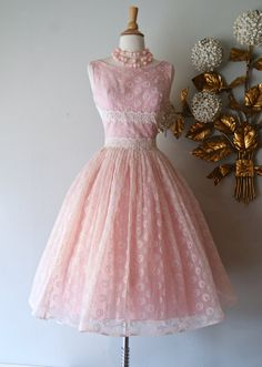 50s Dress // Vintage 1950's Pink Prom Dress With by xtabayvintage, $298.00